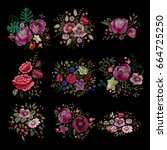 large floral collection. set... | Shutterstock .eps vector #664725250