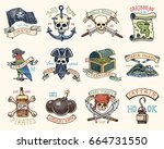 set of engraved  hand drawn ... | Shutterstock .eps vector #664731550
