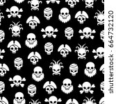 pirate seamless pattern with... | Shutterstock .eps vector #664732120
