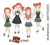 three girlfriends in school... | Shutterstock .eps vector #664741303