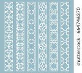 vector set of line borders with ... | Shutterstock .eps vector #664746370