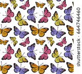 butterfly seamless hand drawn...   Shutterstock .eps vector #664746460