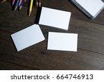 small white business card sort... | Shutterstock . vector #664746913