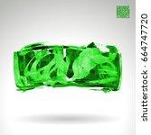 green brush stroke and texture. ... | Shutterstock .eps vector #664747720