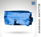 blue brush stroke and texture.... | Shutterstock .eps vector #664747738