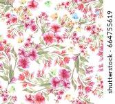 beautiful summer meadow flowers ... | Shutterstock . vector #664755619