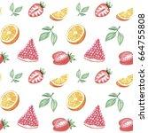 watercolor hand drawing fruits... | Shutterstock . vector #664755808