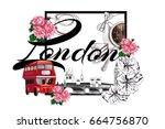travel design with london... | Shutterstock .eps vector #664756870