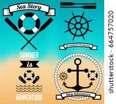 sea badges set | Shutterstock .eps vector #664757020