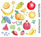 set of hand drawing watercolor... | Shutterstock . vector #664757296