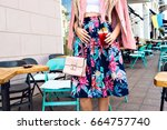 close up summer fashion details ... | Shutterstock . vector #664757740