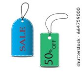 gift tags. paper labels. flat... | Shutterstock .eps vector #664759000