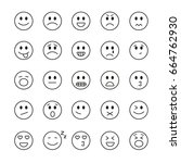 emoji icons  thin monochrome... | Shutterstock .eps vector #664762930