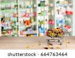 counter store table pharmacy... | Shutterstock . vector #664763464