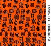african adinkra pattern   black ...   Shutterstock .eps vector #664765096