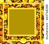 vector fruits and vegetables on ... | Shutterstock .eps vector #664768288