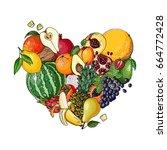 heart of fruit. fresh food.... | Shutterstock .eps vector #664772428