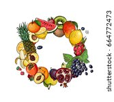 a circle of fruits. fresh food. ...   Shutterstock .eps vector #664772473