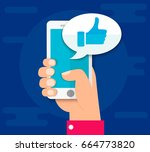 hand holding smartphone. thumbs ... | Shutterstock .eps vector #664773820