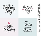 wedding cards collection with...   Shutterstock .eps vector #664774054