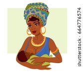 young african american mother... | Shutterstock .eps vector #664776574