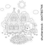 little girl watering flowers on ... | Shutterstock .eps vector #664780744