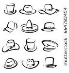 hats collection set. vector | Shutterstock .eps vector #664782454