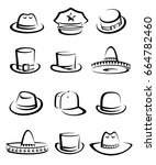 hats collection set. vector | Shutterstock .eps vector #664782460