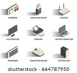 isometric 3d web icon set  ... | Shutterstock .eps vector #664787950
