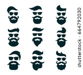 monochrome hipsters faces set... | Shutterstock .eps vector #664792030