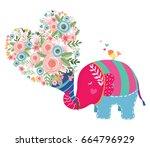 cute elephant cartoon hand... | Shutterstock .eps vector #664796929