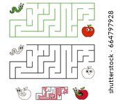 apple and worm pest  the... | Shutterstock .eps vector #664797928