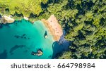 aerial view on a small beach...   Shutterstock . vector #664798984
