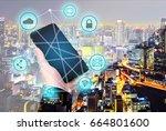 double exposure   businessman... | Shutterstock . vector #664801600