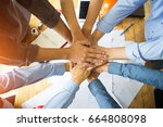power of cooperation in the... | Shutterstock . vector #664808098