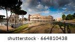 panoramic view of rome coliseum.