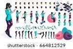 large isometric set of gestures ...   Shutterstock .eps vector #664812529
