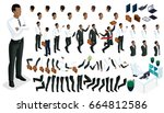 large isometric set of gestures ... | Shutterstock .eps vector #664812586
