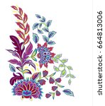 vintage flowers embroidery... | Shutterstock . vector #664813006