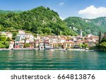view on town varenna from lake... | Shutterstock . vector #664813876