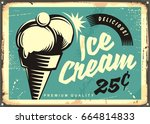 vintage ice cream vector... | Shutterstock .eps vector #664814833