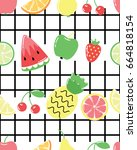 seamless pattern with cute... | Shutterstock .eps vector #664818154