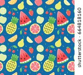 seamless pattern with cute... | Shutterstock .eps vector #664818160