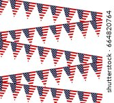 triangular flags with the logo... | Shutterstock . vector #664820764