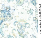 paisley floral seamless pattern.... | Shutterstock .eps vector #664825264