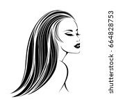 beautiful woman with long ... | Shutterstock .eps vector #664828753