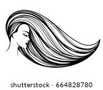 beautiful woman with long hair... | Shutterstock .eps vector #664828780
