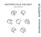 set line icons of motorcycle... | Shutterstock . vector #664829128