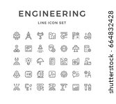 set line icons of engineering... | Shutterstock . vector #664832428
