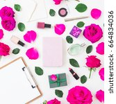 fashion desk with cosmetics  ... | Shutterstock . vector #664834036